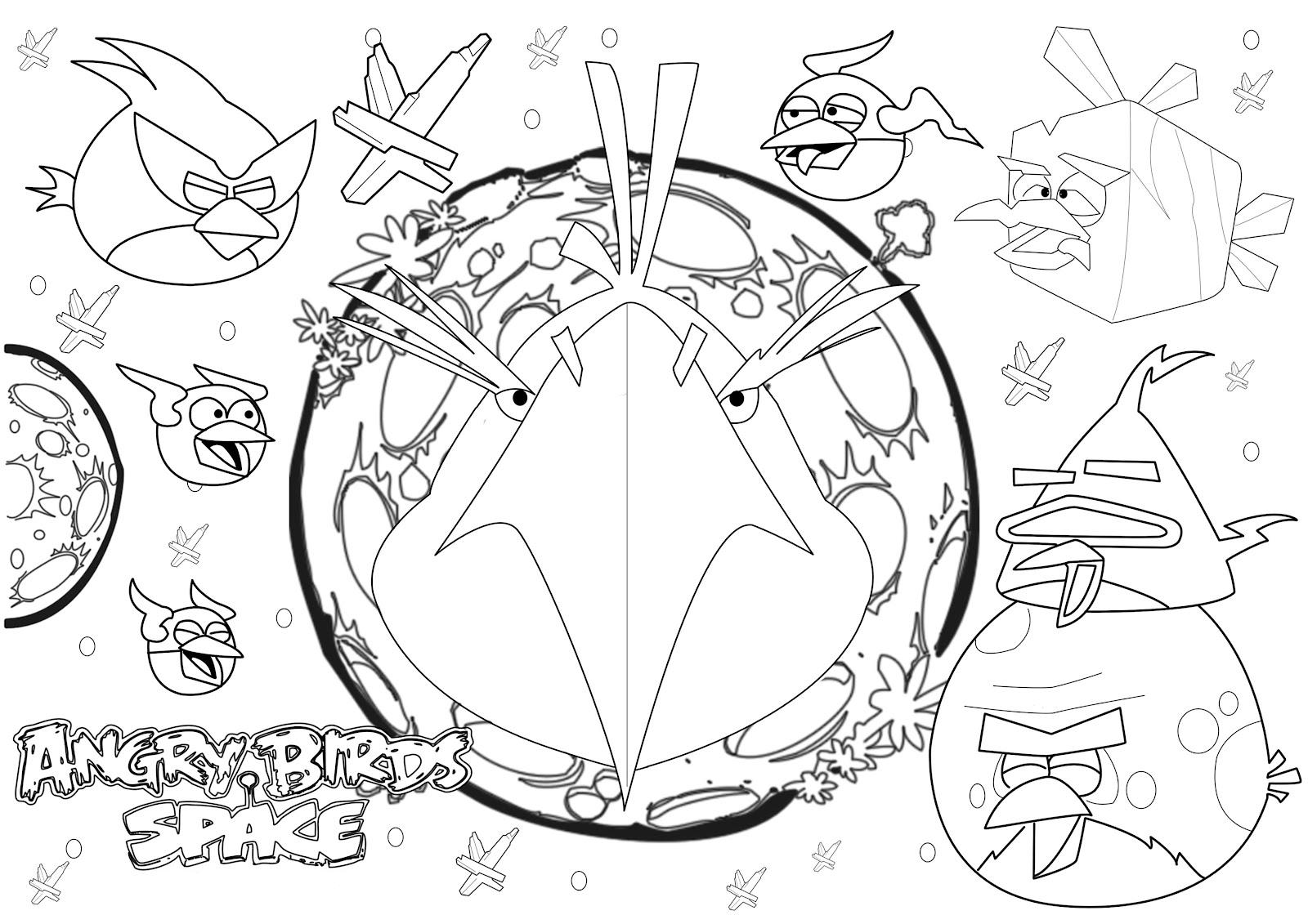 Free Coloring Pages Of Angry Birds Space Games