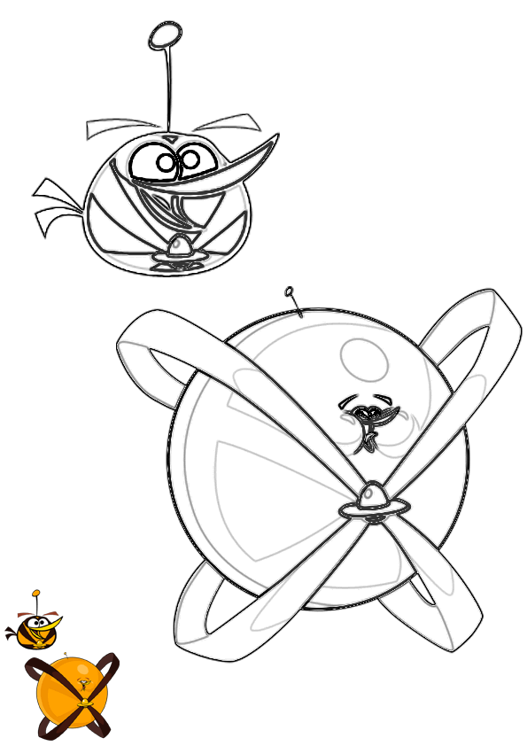 Dibujo Para Colorear De Angry Birds Space Orange Bird