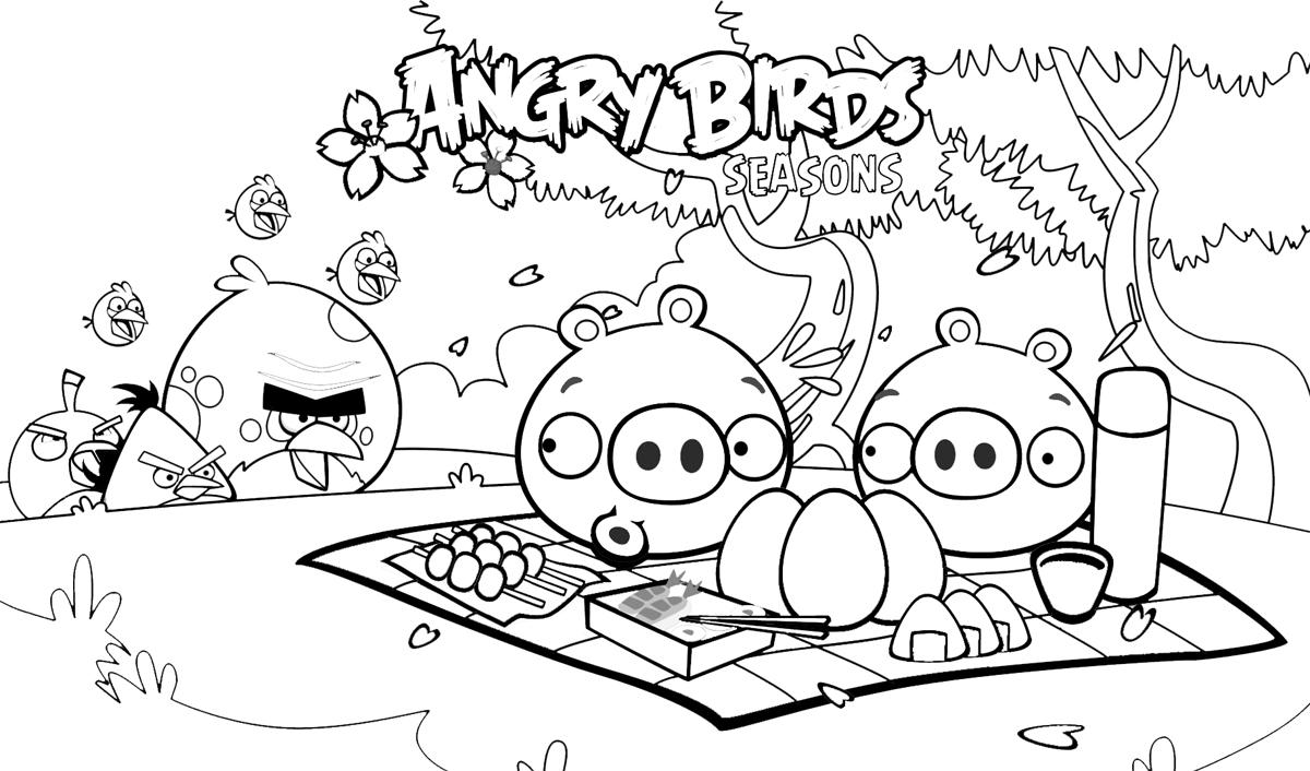 Dibujo para colorear de Angry Birds Seasons: Pillan a los Bad ...
