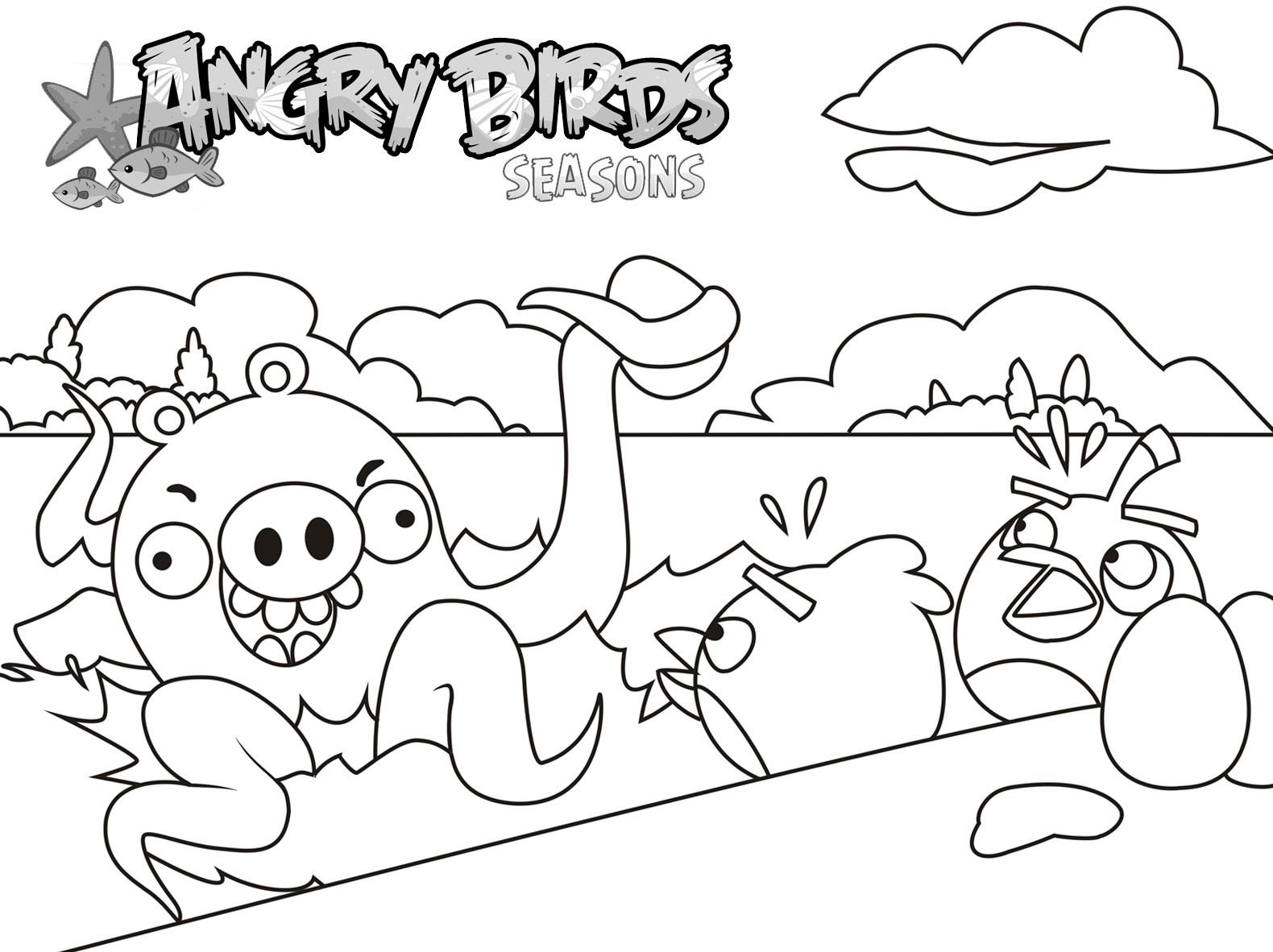 Dibujo para colorear de Angry Birds Seasons: Red y Black ven un pulpo gigante