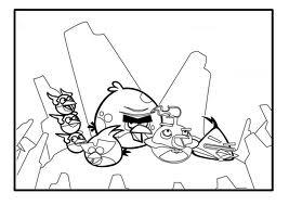 Dibujo para colorear de Angry Birds Space : llegada al planeta