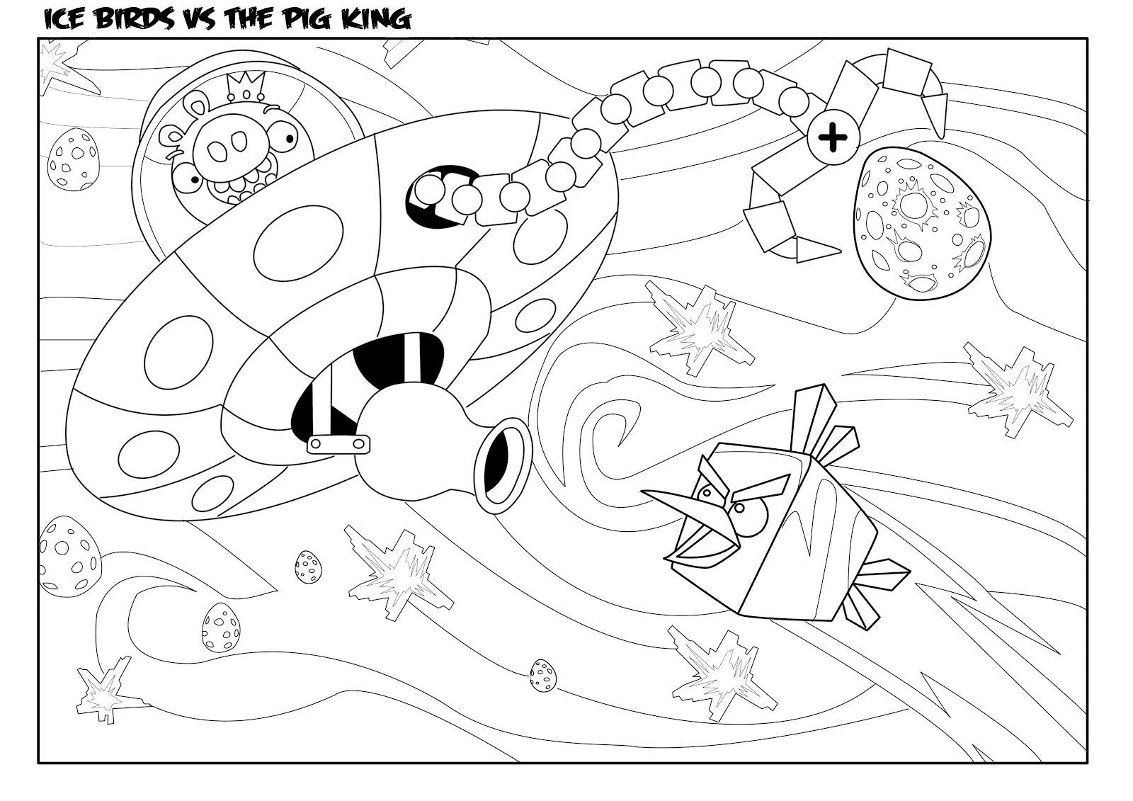 Dibujo para colorear de Angry Birds Space : Ice Bird persigue a rey cerdo