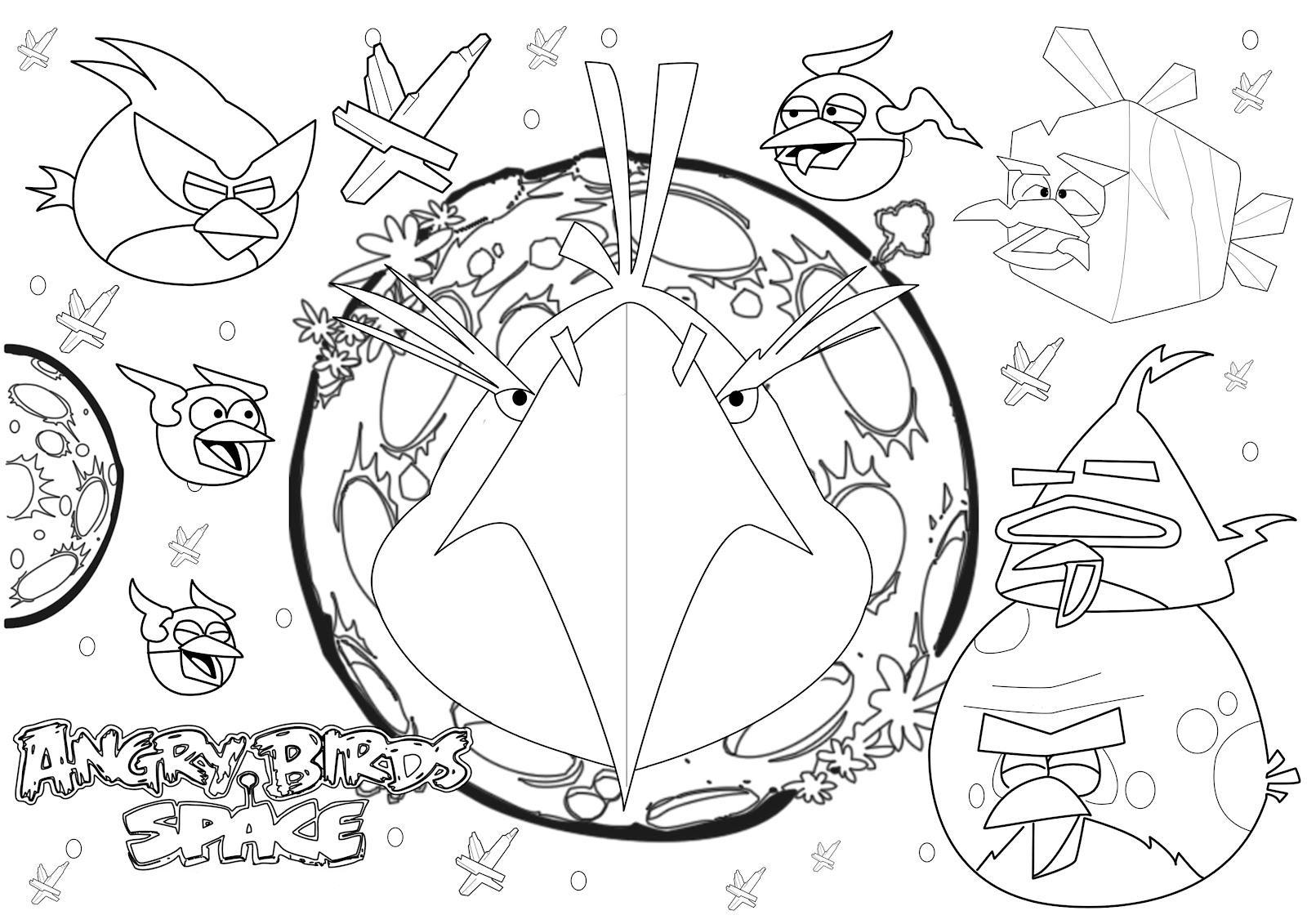 Dibujo para colorear de Angry Birds Space : Eagle Bird entra en acción