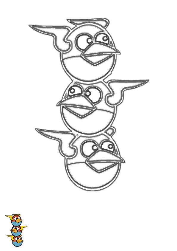 Dibujo para colorear de Angry Birds Space : Los pájaros azules espaciales