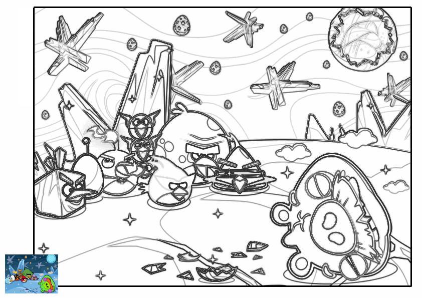 Dibujo para colorear de Angry Birds Space : El grupo derrota a los cerdos