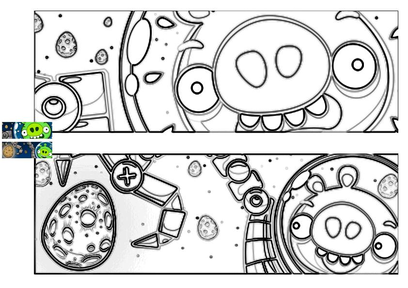 Dibujo para colorear de Angry Birds Space : los cerdos capturan el huevo