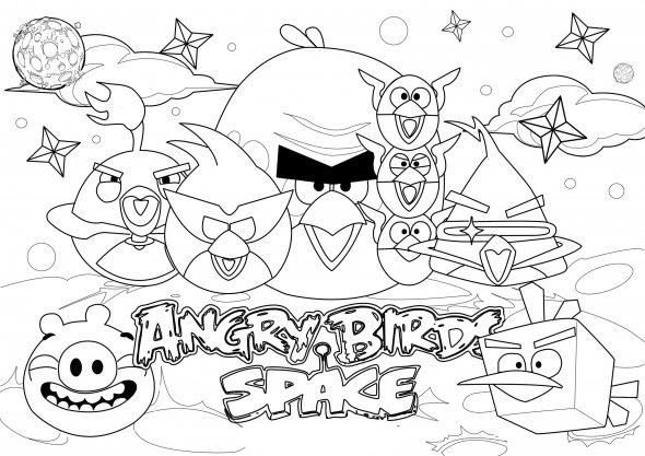 Dibujo para colorear de Angry Birds Space : foto de familia