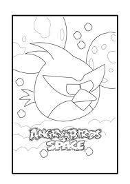 Dibujo para colorear de Angry Birds Space : Hiper Red Bird posado