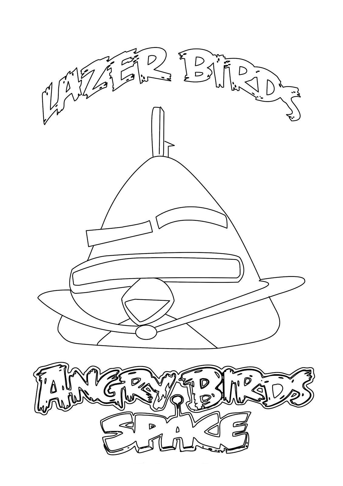 Dibujo para colorear de Angry Birds Space : foto cool de lazer bird
