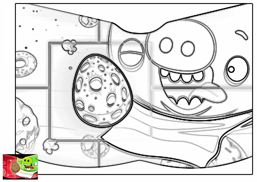 Dibujo para colorear de Angry Birds Space : cerdo minion apunto de comer