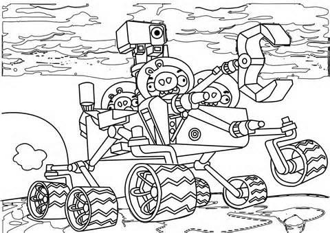 Dibujo para colorear de Angry Birds Space : los cercos en el robot