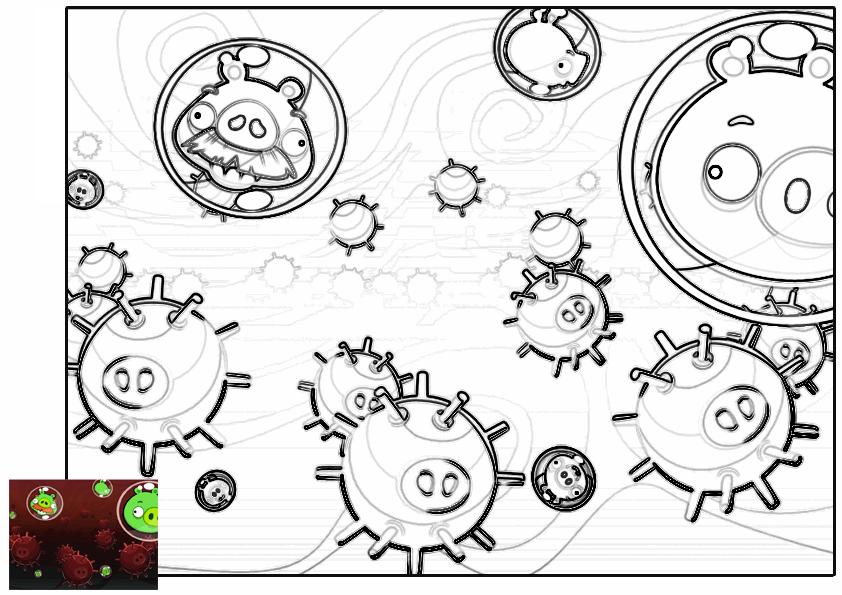 Dibujo para colorear de Angry Birds Space : cerdos entre minas explosivas