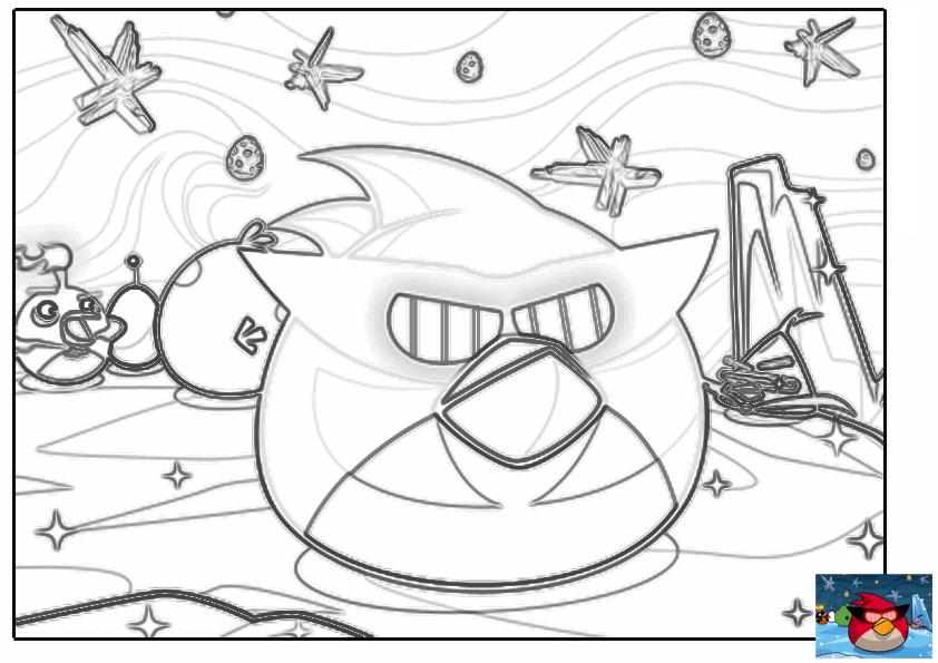 Dibujo para colorear de Angry Birds Space : Ca – caw mirando al espacio