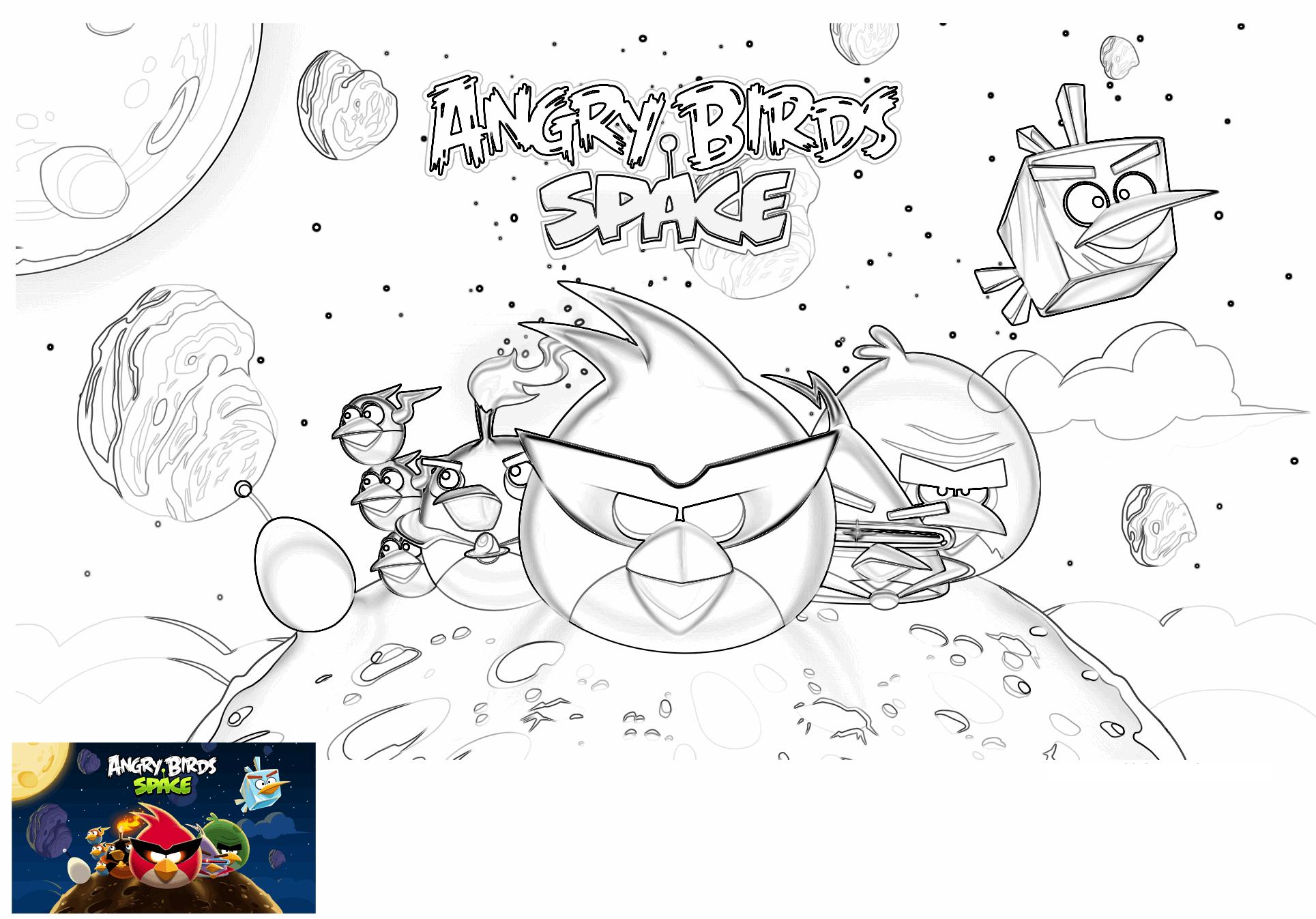 Dibujo para colorear de Angry Birds Space : primer plano de los pájaros en el espacio