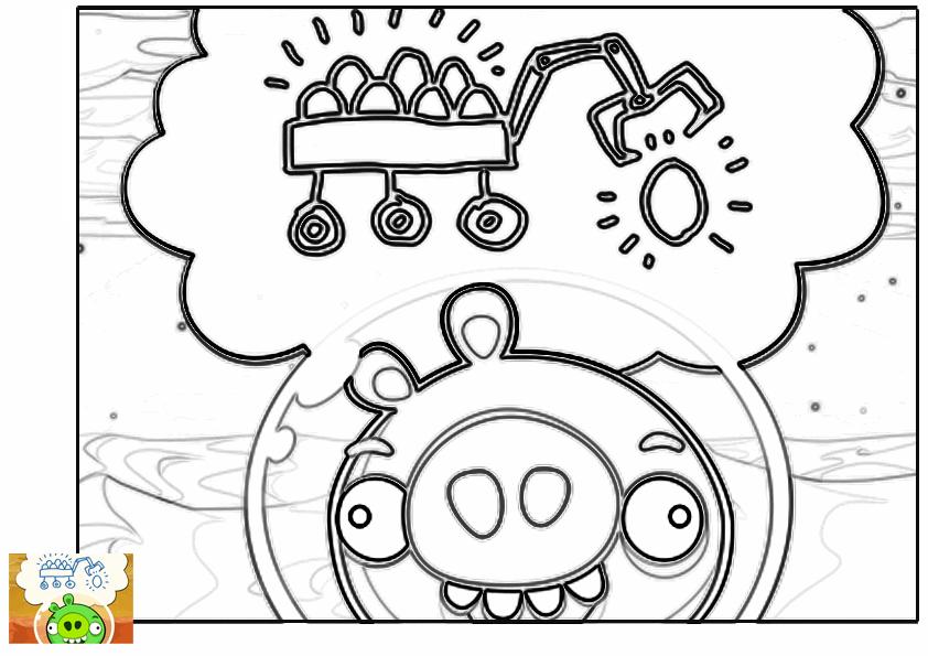 Dibujo para colorear de Angry Birds Space : cerco minion maquinando