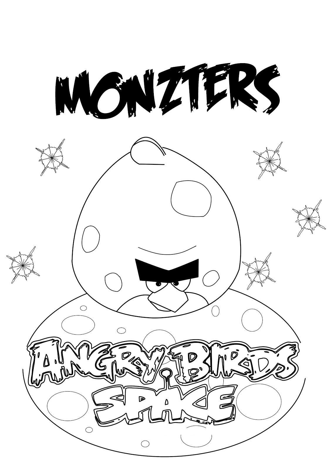Dibujo para colorear de Angry Birds Space : Monster Bird en solitario