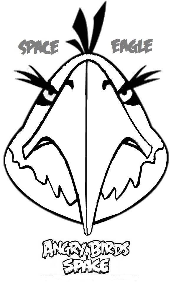 Dibujo para colorear de Angry Birds Space : Eagle bird enfadado