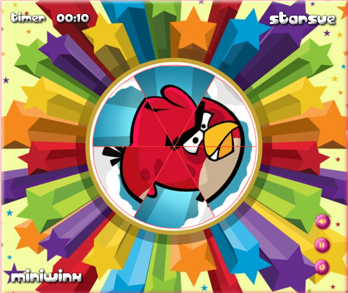 puzzle de angry birds Round Puzzle