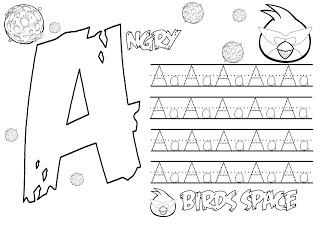 Dibujo para colorear de Angry Birds Space : Caligrafía letra A