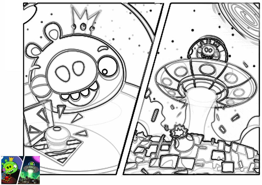 Dibujo para colorear de Angry Birds Space : King Pig despegando