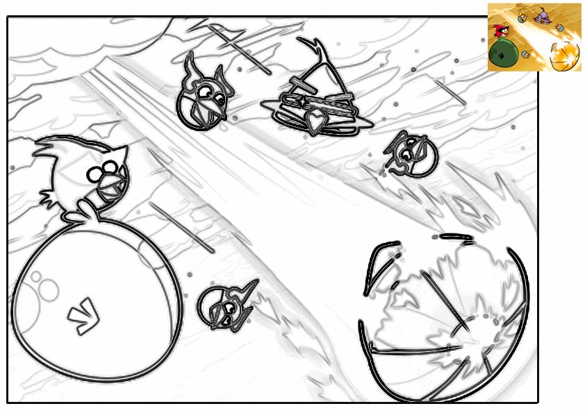Dibujo para colorear de Angry Birds Space : Los Angry Birds en el espacio