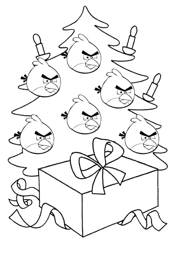 Dibujo Para Colorear De Angry Birds Seasons árbol De Navidad De Red