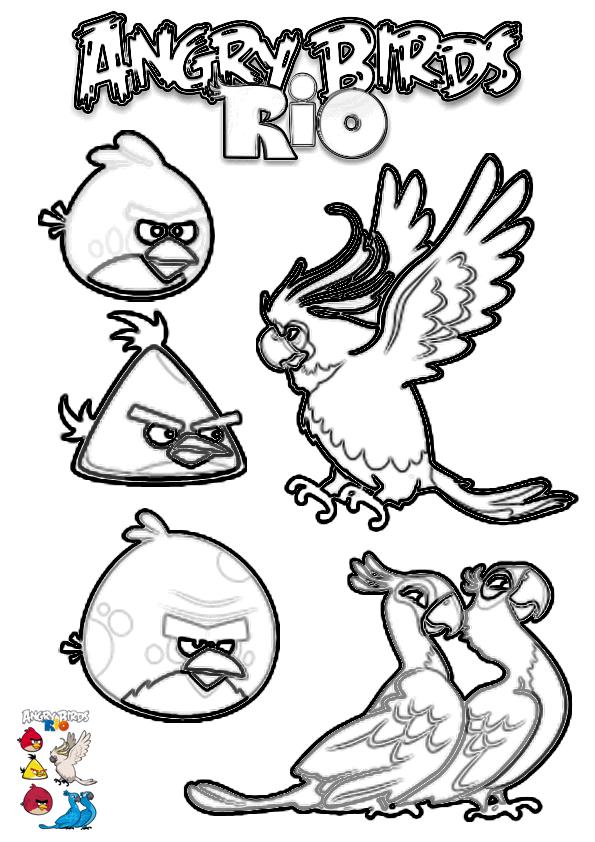 Dibujo para colorear de Angry Birds Rio: Blu, Perla, Pepillo, Pájaro Rojo, Pájaro Amarillo y Terence posando