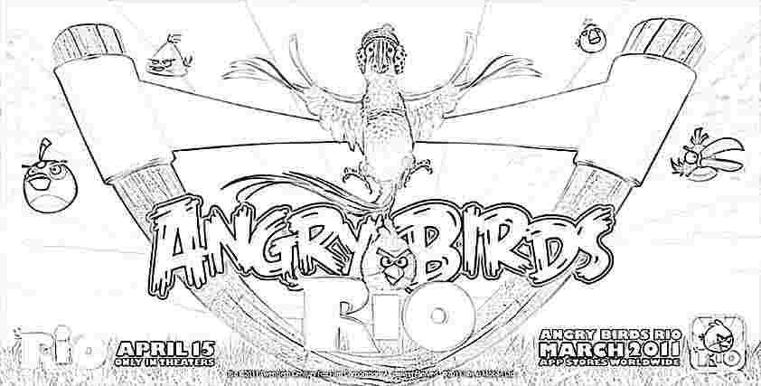 Dibujo para colorear de Angry Birds Rio: Blu en el tirachinas