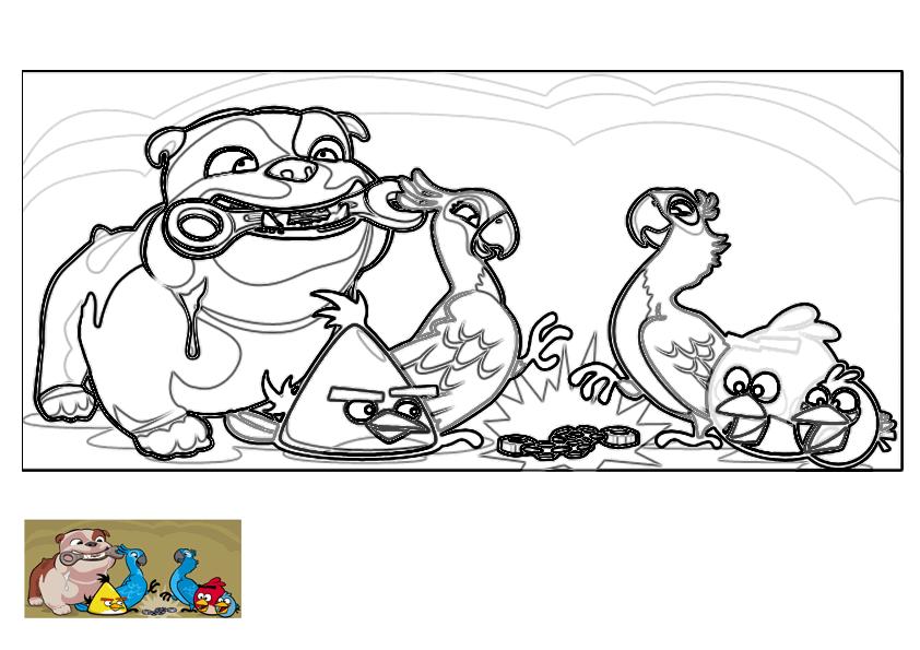 Dibujo para colorear de Angry Birds Rio: Blu y Perla se desencadenan gracias a Luiz y los Angry Birds