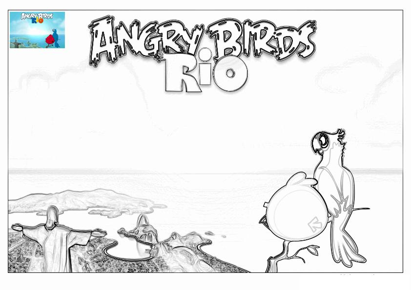 Dibujo para colorear de Angry Birds Rio: Blu y Red Bird disfrutando las vistas de Rio de Janeiro