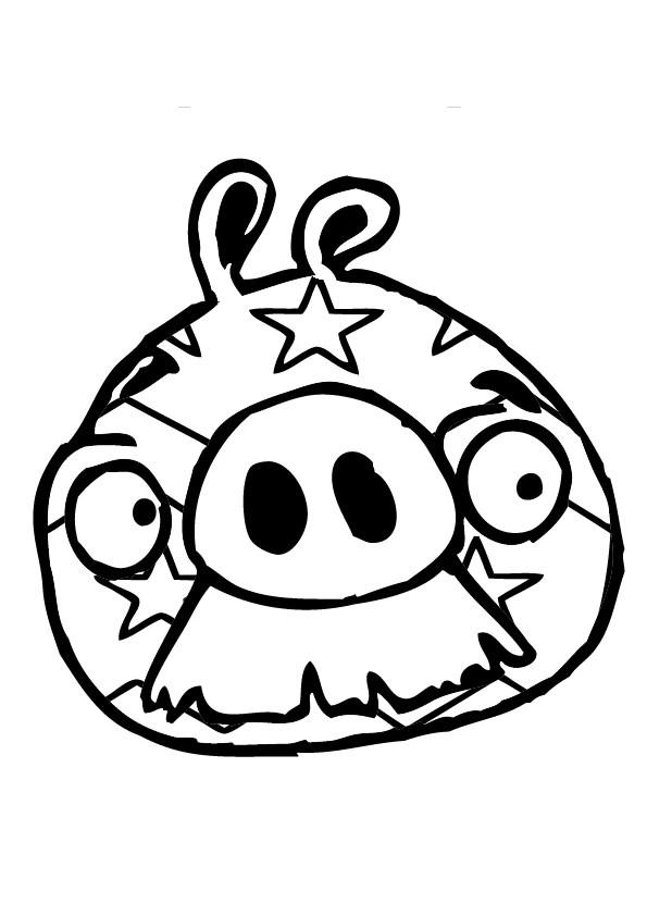 Dibujo para colorear de Bad Piggies: Cerdo con bigotee con cara decorada