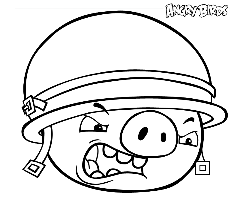 Dibujo para colorear de Bad Piggies: Cerdo con casco enfadado