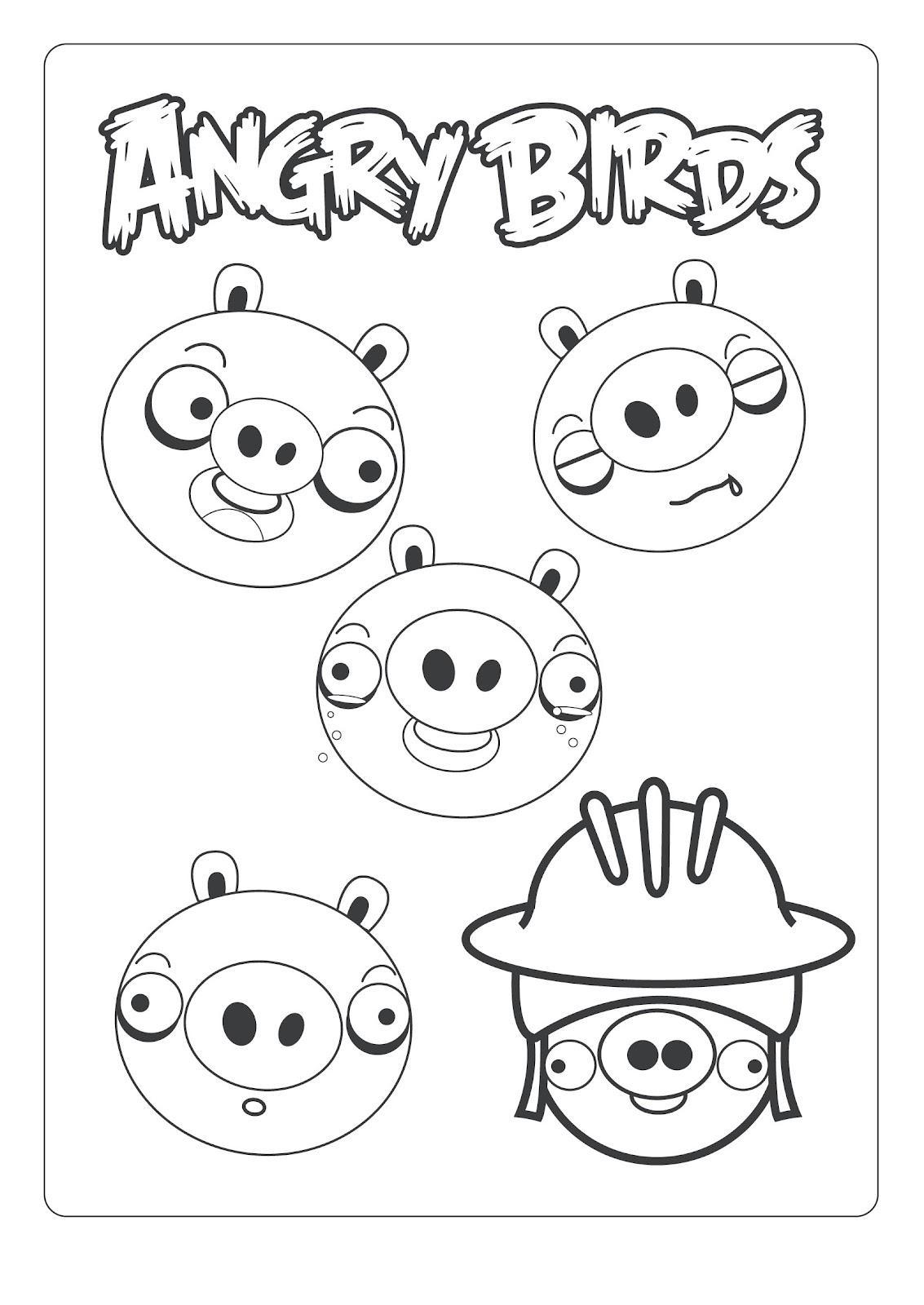 Dibujo para colorear de Bad Piggies: Cerdos poniendo caritas