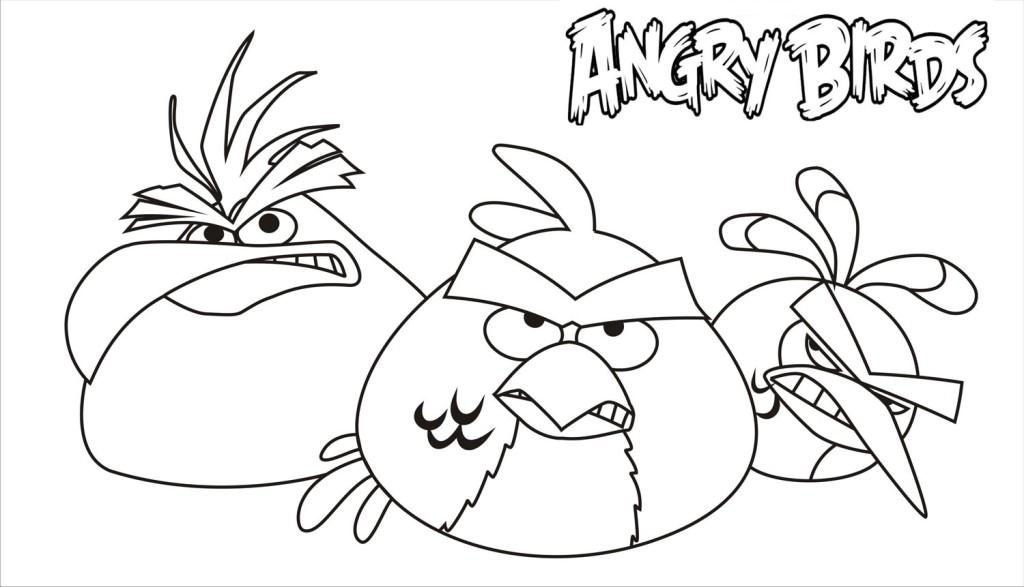Dibujo para colorear de Angry Birds Rio: Chuck, Red y Blue Bird muy enojados