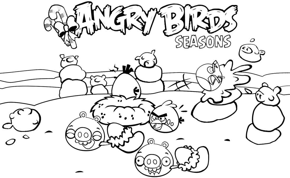 Dibujos Divertidos Para Colorear: Dibujo Para Colorear De Angry Birds Seasons: Día Divertido