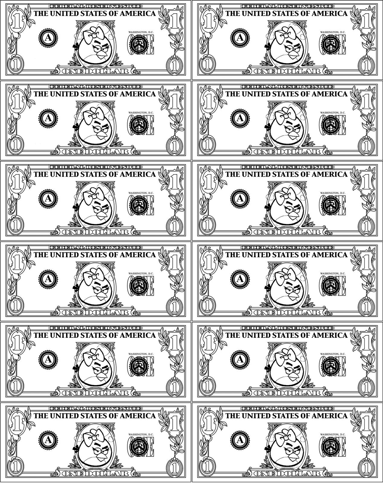 Dibujos Para Colorear De Angry Birds Dólares De Pájaro Rojo