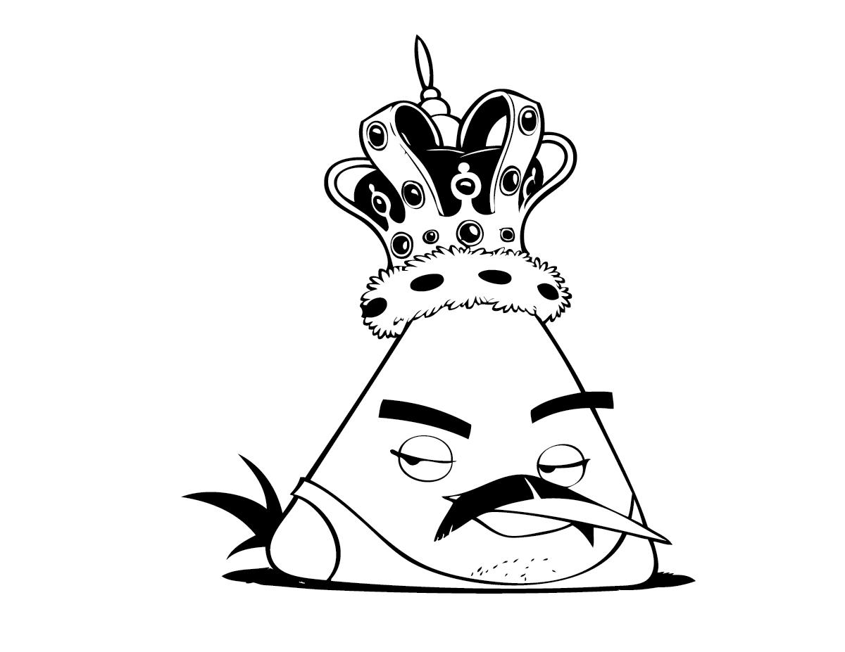 Dibujo para colorear de Angry Birds: El Rey Yellow Bird