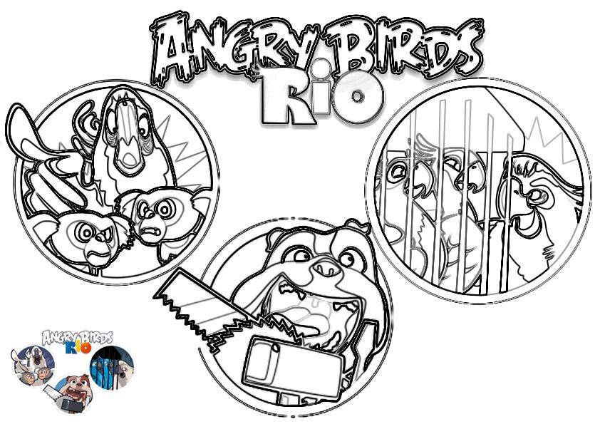 Dibujo para colorear de Angry Birds Rio: Escenas del juego donde Luiz el bulldog salva a los buenos