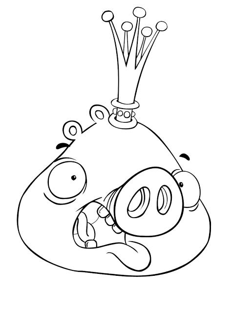 Dibujo para colorear de Bad Piggies: King Pig asustado