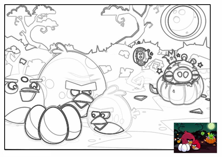 Dibujo para colorear de Angry Birds Seasons: King Pig se disfraza de calabaza