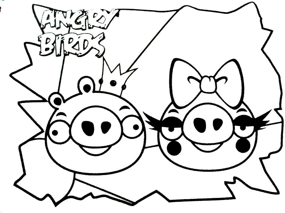 Dibujo para colorear de Bad Piggies: King Pig y su novia