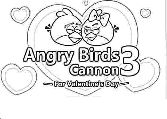 Dibujo para colorear de Angry Birds: La parejita en Cannon 3