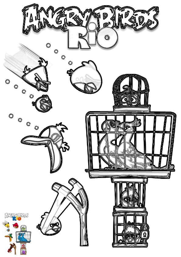 Dibujo para colorear de Angry Birds Rio: Los Angry Birds liberando a ...