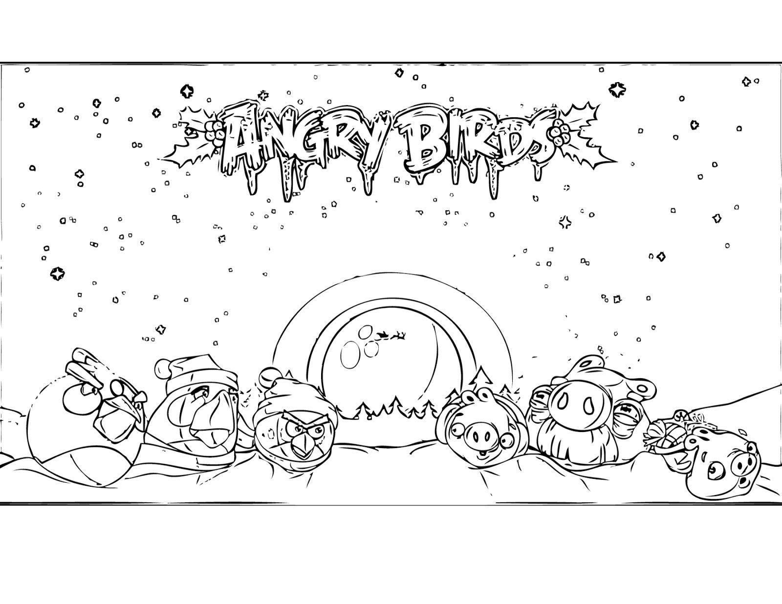 Dibujo Para Colorear De Angry Birds Seasons Los Cerdos Y Los Angry