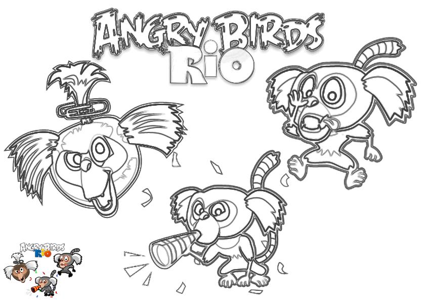 Dibujo para colorear de Angry Birds Rio: Los monos titíes haciendo travesuras