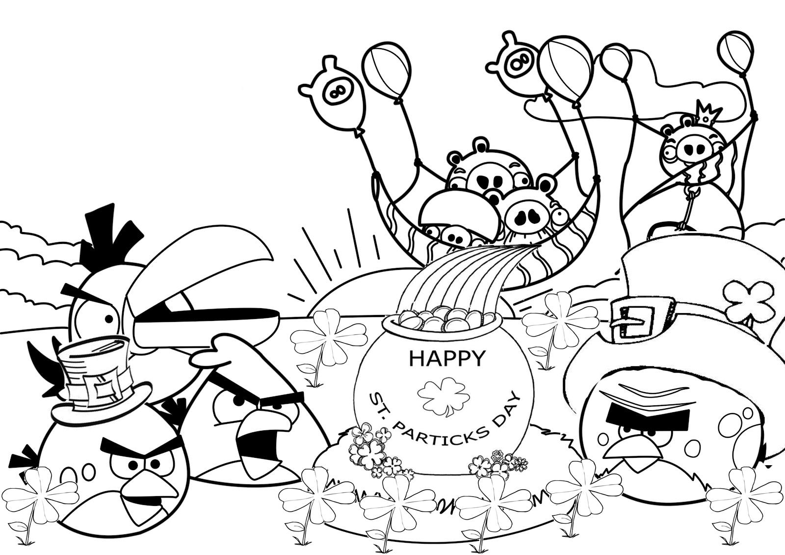 Dibujo para colorear de Angry Birds Seasons: Los pájaros festejan st patric