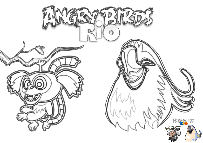 Dibujo Para Colorear De Angry Birds Rio Mauro Y Pepillo
