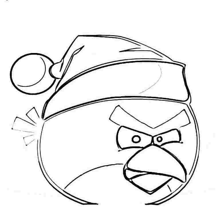 Dibujo Para Colorear De Angry Birds Seasons Pájaro Rojo Con Gorrito
