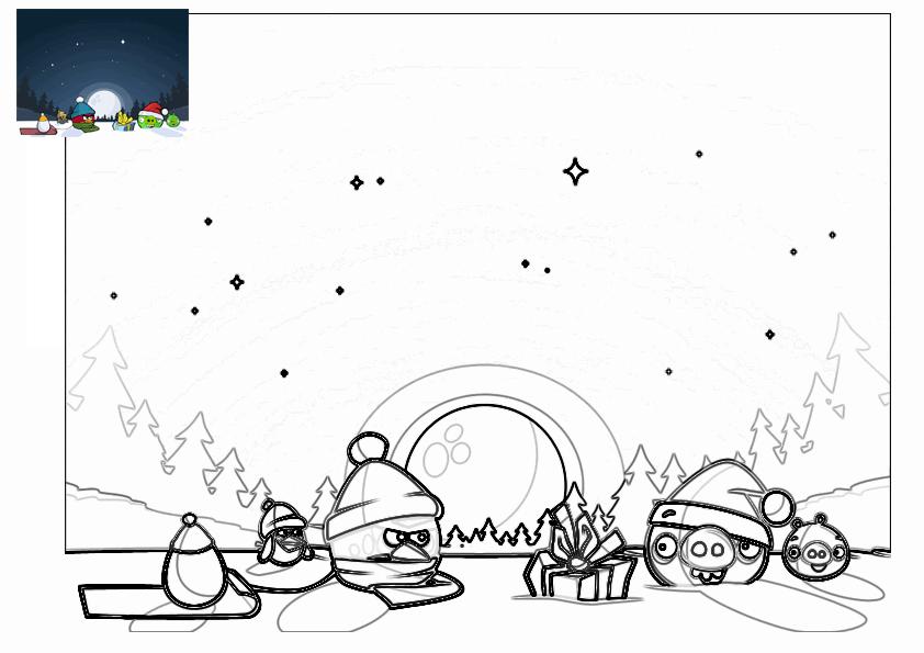 Dibujo para colorear de Angry Birds Seasons: Pájaro Rojo y el Cerdo ...