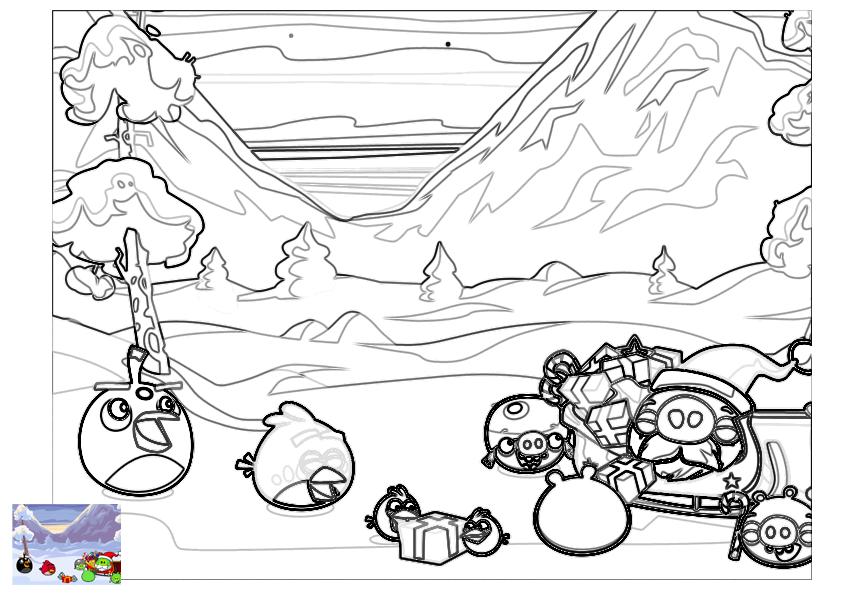 Dibujo para colorear de Angry Birds Seasons: Papa noel visita a Cerdos y Pájaros